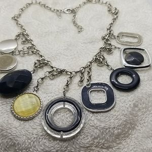 NY Large Geometric Charms Silver Chain Necklace